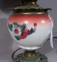 ANTIQUE HAND PAINTED PORCELAIN AND METAL LAMP
