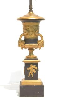 2-TONE BRONZE FRENCH EMPIRE URN FORM LAMP