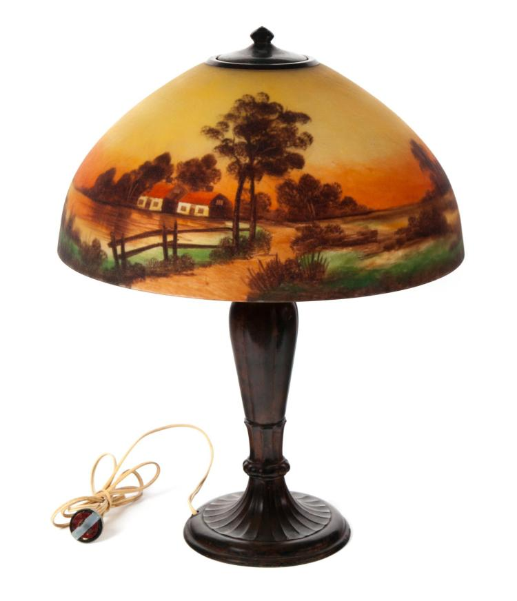 Reverse Painted Lamp Marked Quotjeffersonquot