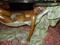 8) Breathtaking! Cast bronze? coffee table, depicting semi n