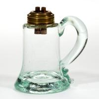 FREE-BLOWN COLORED GLASS WHALE OIL HAND LAMP