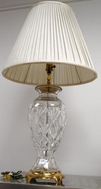 WATERFORD CUT CRYSTAL AND BRASS TABLE LAMP. HEIGHT 36""