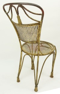 Mid Century Louis XV Style Gilt Wrought Iron Side Chair