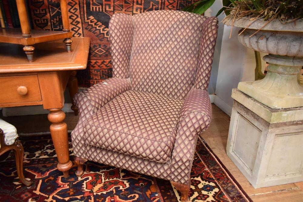 Two Upholstered Wingback Armchairs