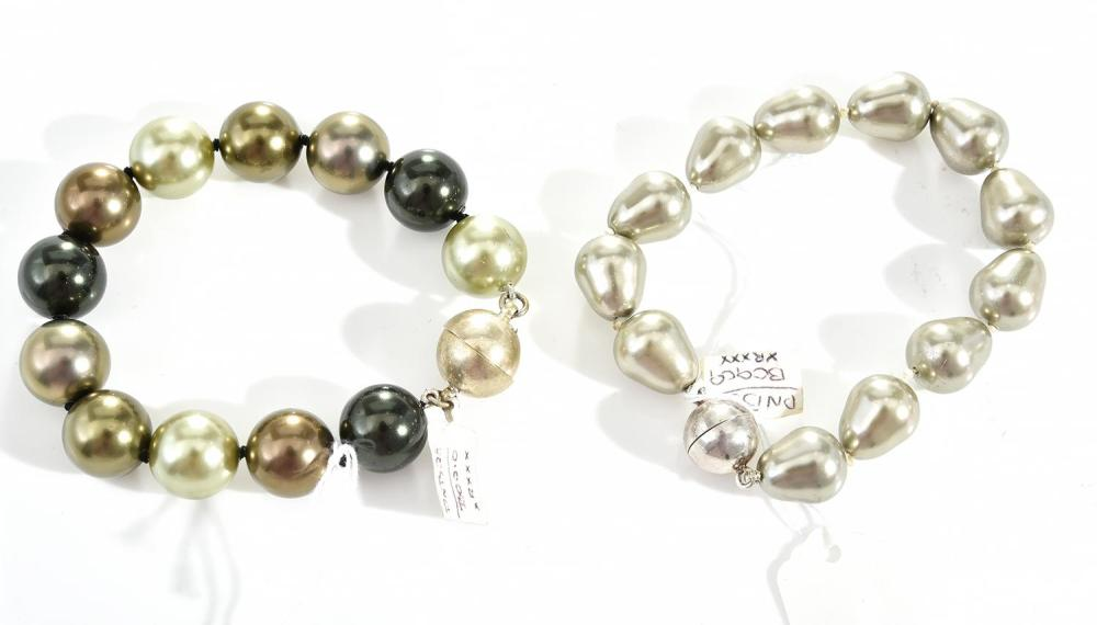 Two Imitation Pearl Bracelets To Sterling Silver Magnetic Cl