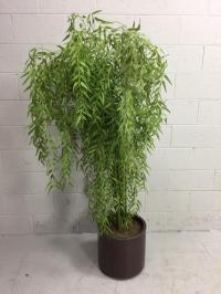 Faux Bamboo Bush Plant & Planter
