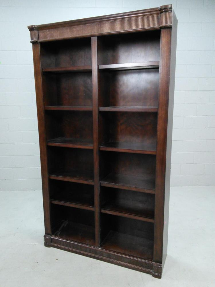 Dark Wood Lighted 5 Shelf Bookcase