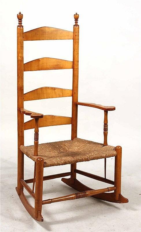 Rush Seat Maple Ladder Back Rocking Chair