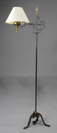 COLONIAL STYLE BRASS AND METAL FLOOR LAMP