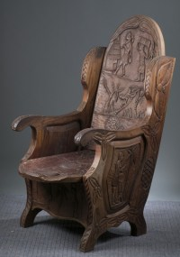 West African style carved throne chair.