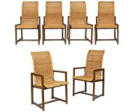 Mid Century Wicker and Wood Chairs - Six