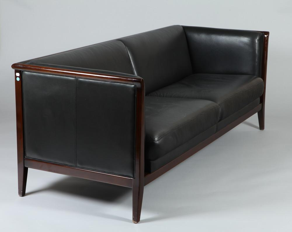 Sofa X Long Contemporary Black Leather Sofa Retailed By Maurice Villency