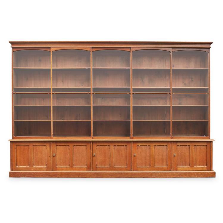 Late Victorian Oak Bookcase Late 19th Century 373cm Wide 25