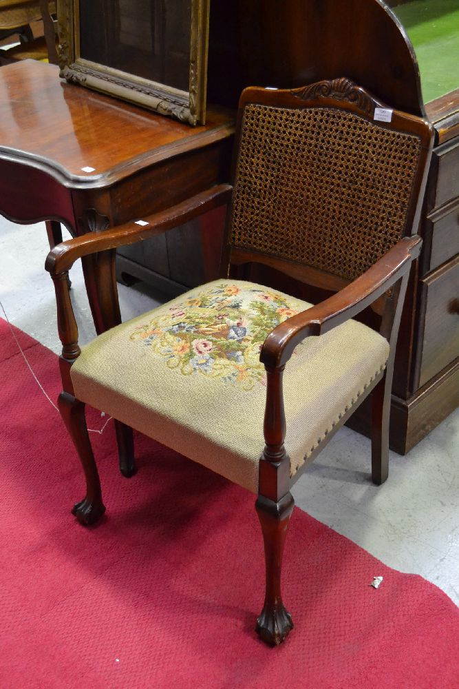 Cane back needlework upholstery antique style chair
