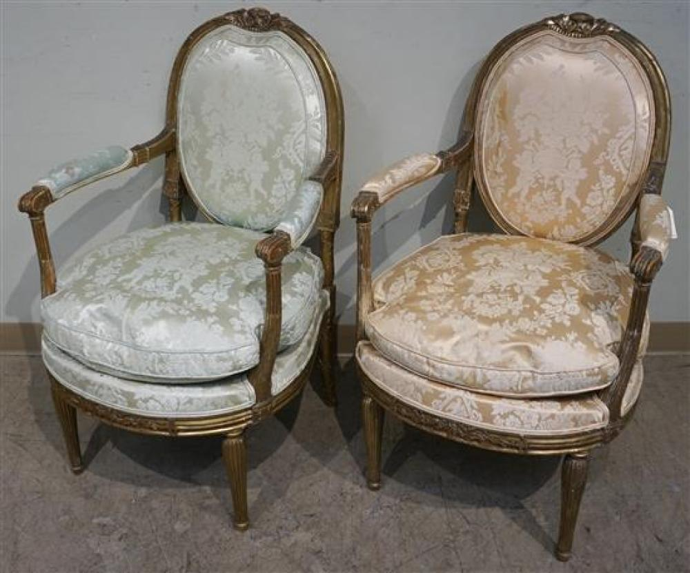 Lot Pair Louis Xvi Style Giltwood Fauteuils