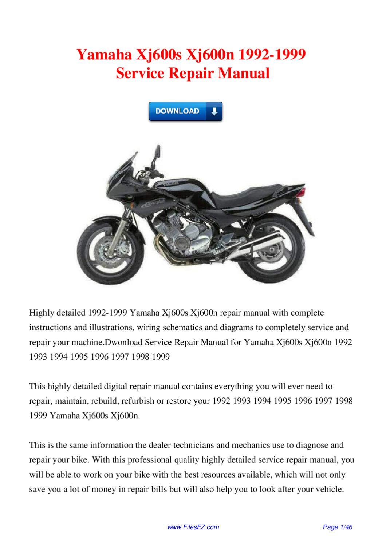 yamaha xj600 xj600s 1995 repair service manual