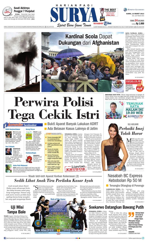 Harian Radar Pekalongan 1 Maret 2013 Jawa Tengah Wikipedia Bahasa Indonesia Ensiklopedia Bebas Koran Pagi Issuu Kamis 14 Maret 2013 Surya Sriwijaya Post