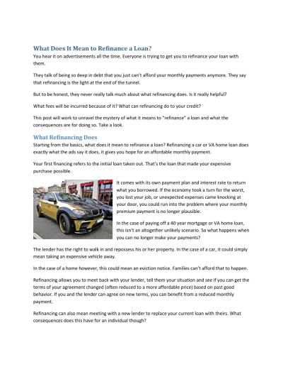 What does it mean to refinance a loan by Seth Jenkins - issuu