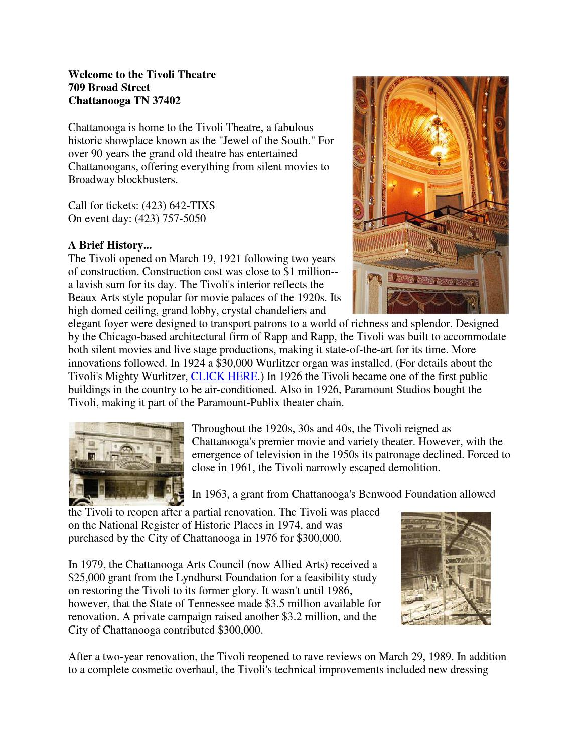 Tivoli Theatre Food Tivoli Theatre History By Chattonstage Page 1 Issuu
