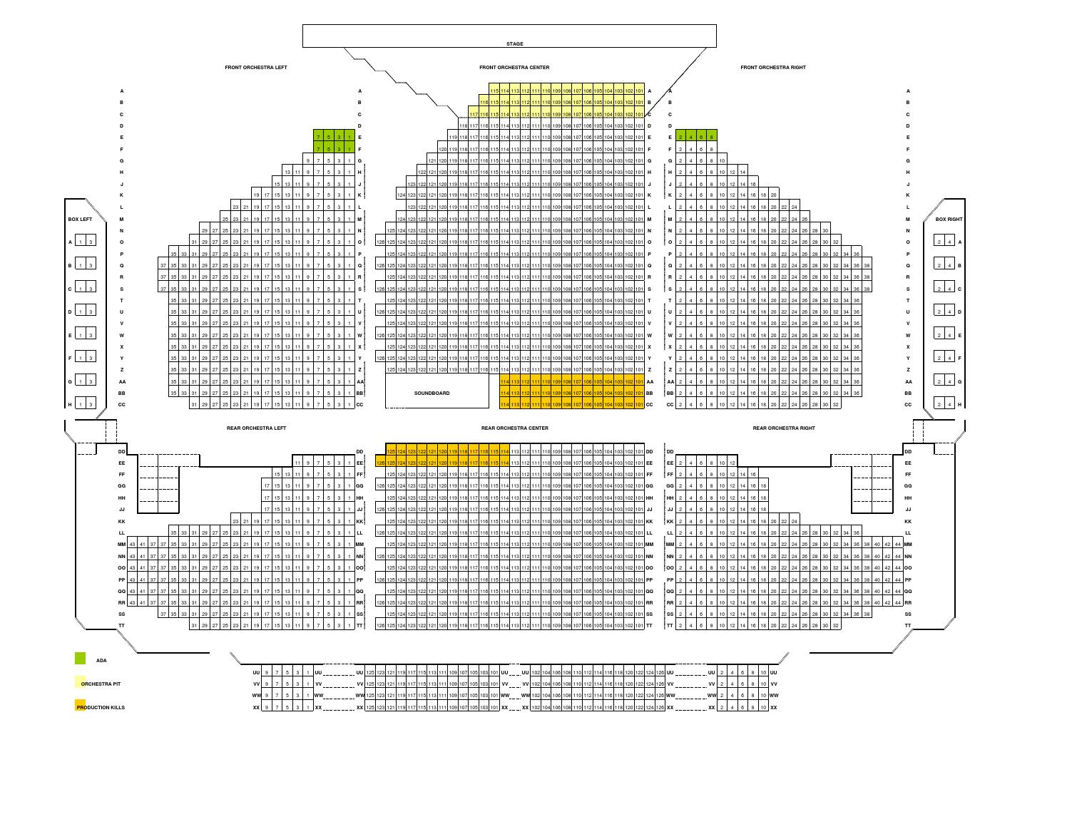 Tivoli Theatre Food Soldiers And Sailors Memorial Auditorium Seating Map By