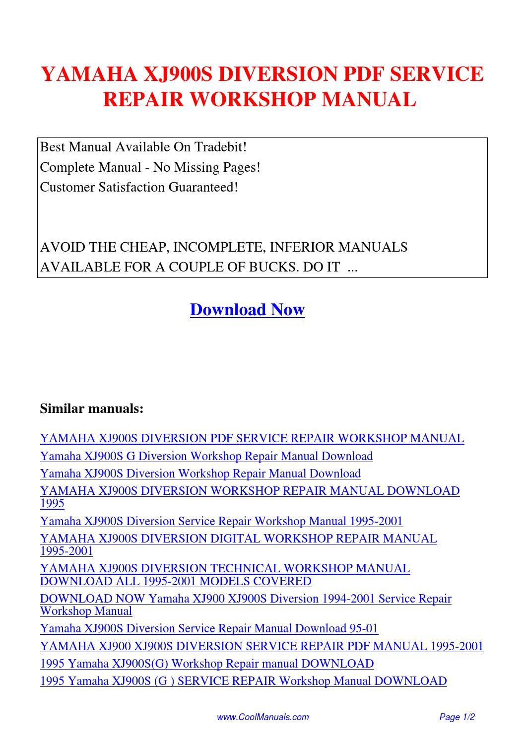 yamaha xj900s diversion workshop repair manual download all 1995 2001 models covered