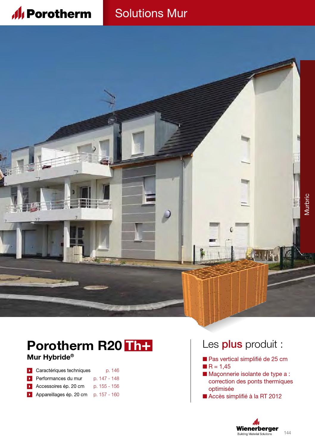 Brique Monomur Rt 2012 Fiche Produit Porotherm R20 Th 43 By Wienerberger Ag Issuu