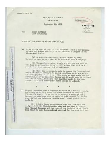 Memo 91569 Nixon Selective Service Plan » Richard Nixon Foundation