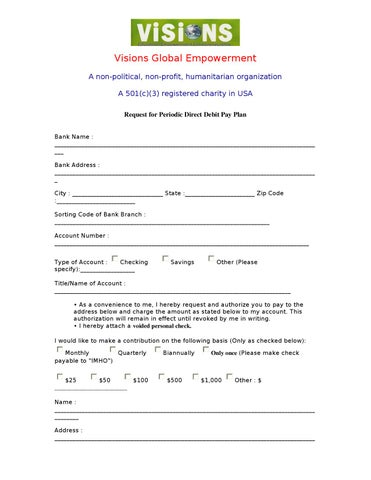 Visions Direct Debit Form by Visions USA - issuu - direct debit form