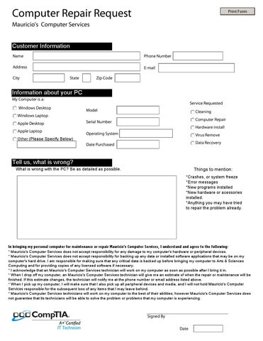Computer Repair Request Form by Mauricio Mejia - issuu