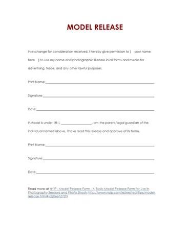 Basic Model Release Form by In Progress - issuu