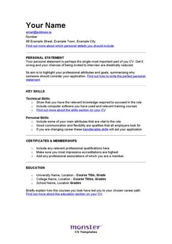 The \u0027Classic\u0027 Skill Based CV by Monster Worldwide CZ sro - issuu