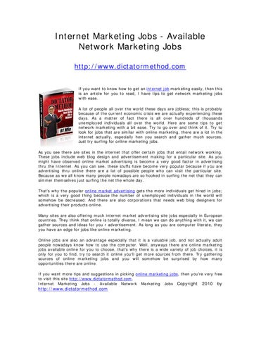 Internet Marketing Jobs - Available Network Marketing Jobs by BJ M
