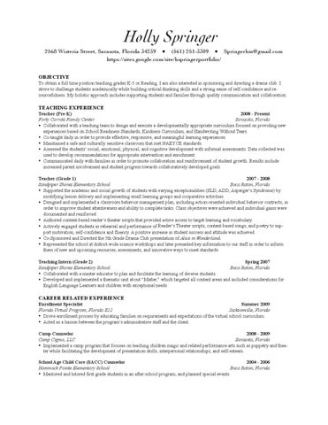 Holly Springer 2010 Teacher Resume with Site by Holly Springer - issuu - after school program resume