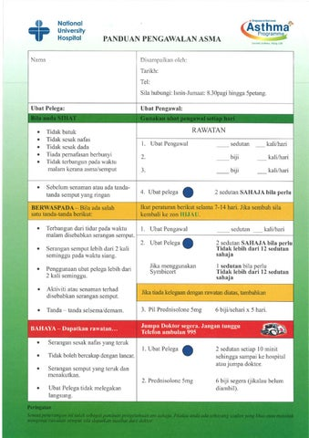 AIC Asthma action plan malay version by aic nuh - issuu - asthma action plan