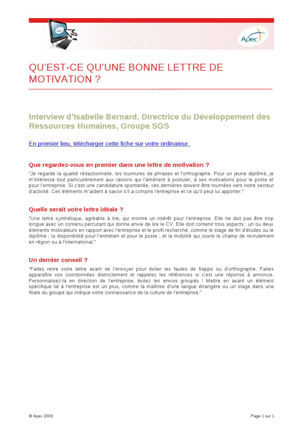 cv et lettre de motivation le quelle en premier