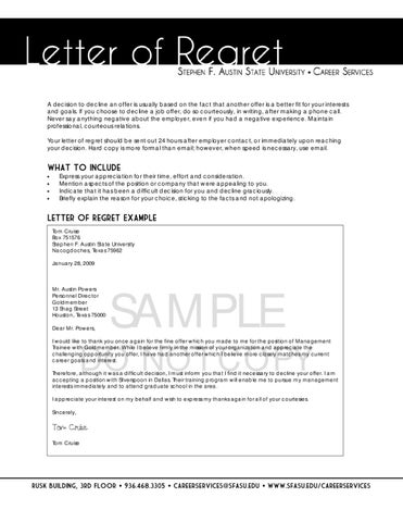 Letter of Regret by SFA Careers - issuu