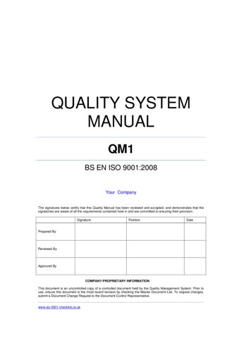 quality-manual-template-example by ISO 9001 Checklist - issuu - how to manual template