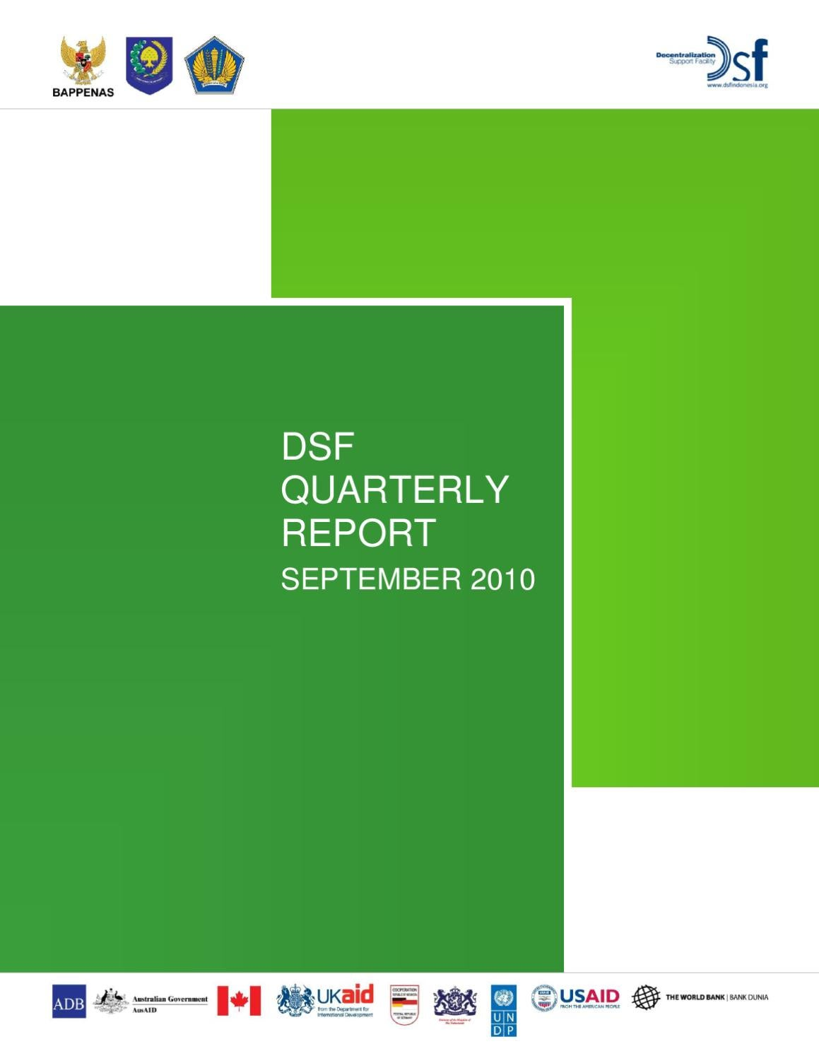 Dsf Bank Dsf Quarterly Report September 2010