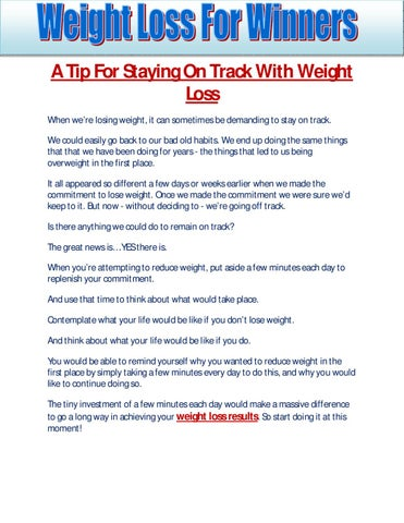 A Tip For Staying On Track With Weight Loss by Danny Callaghan - issuu