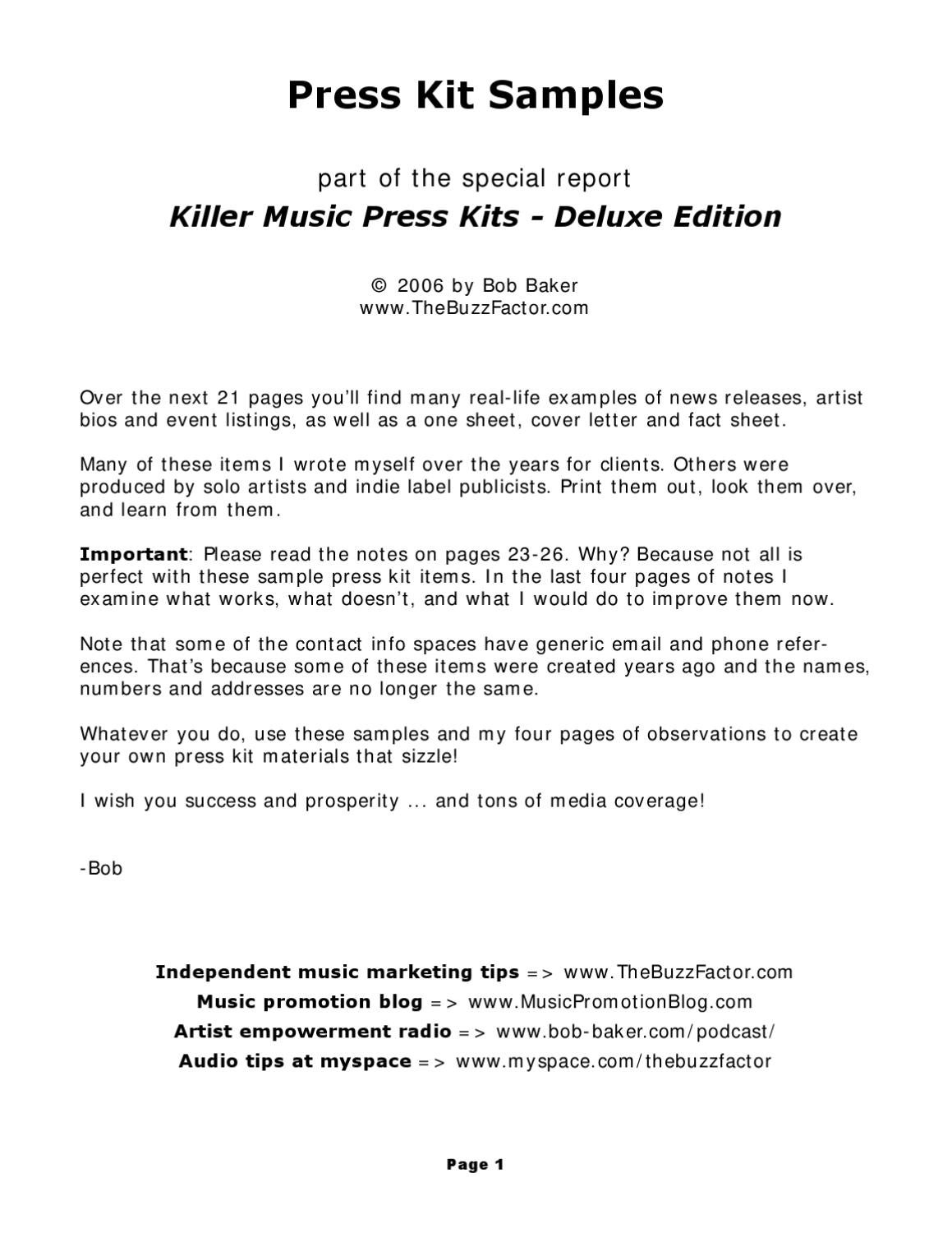 Press Kit For Artist Killer Press Kits By Franklin Management Llc Issuu