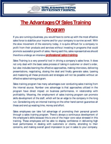 The Advantages Of Sales Training Program by Peter McKeon - issuu - how to develop a sales training plan