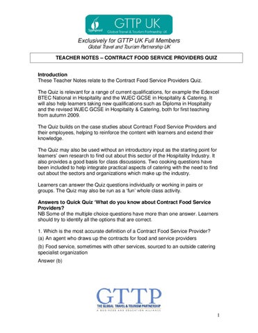 Contract Food Service Providers Quiz Teacher Notes by Resource