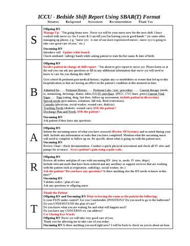 CCU Bedside Shift Report Template by Ian Saludares - issuu