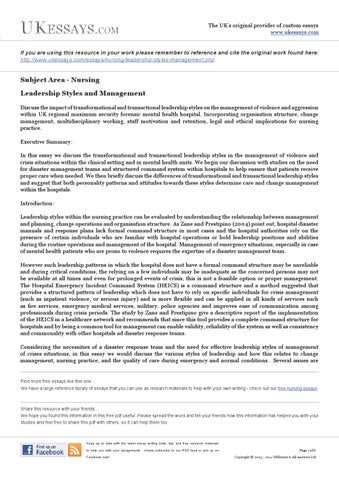 Nursing Essays - Leadership Styles and Management by Academic