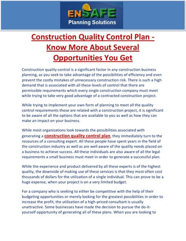 Construction Quality Control Plan - Know More About Several