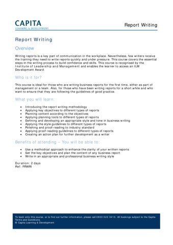 Report Writing by Capita Learning  Development - issuu