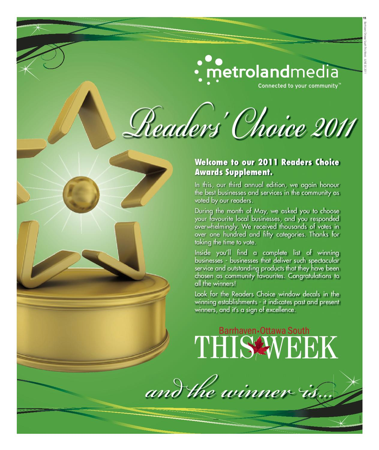 Porto Da Casa Barrhaven Barrhaven Ottawa South This Week Reader S Choice 2011 By Marie