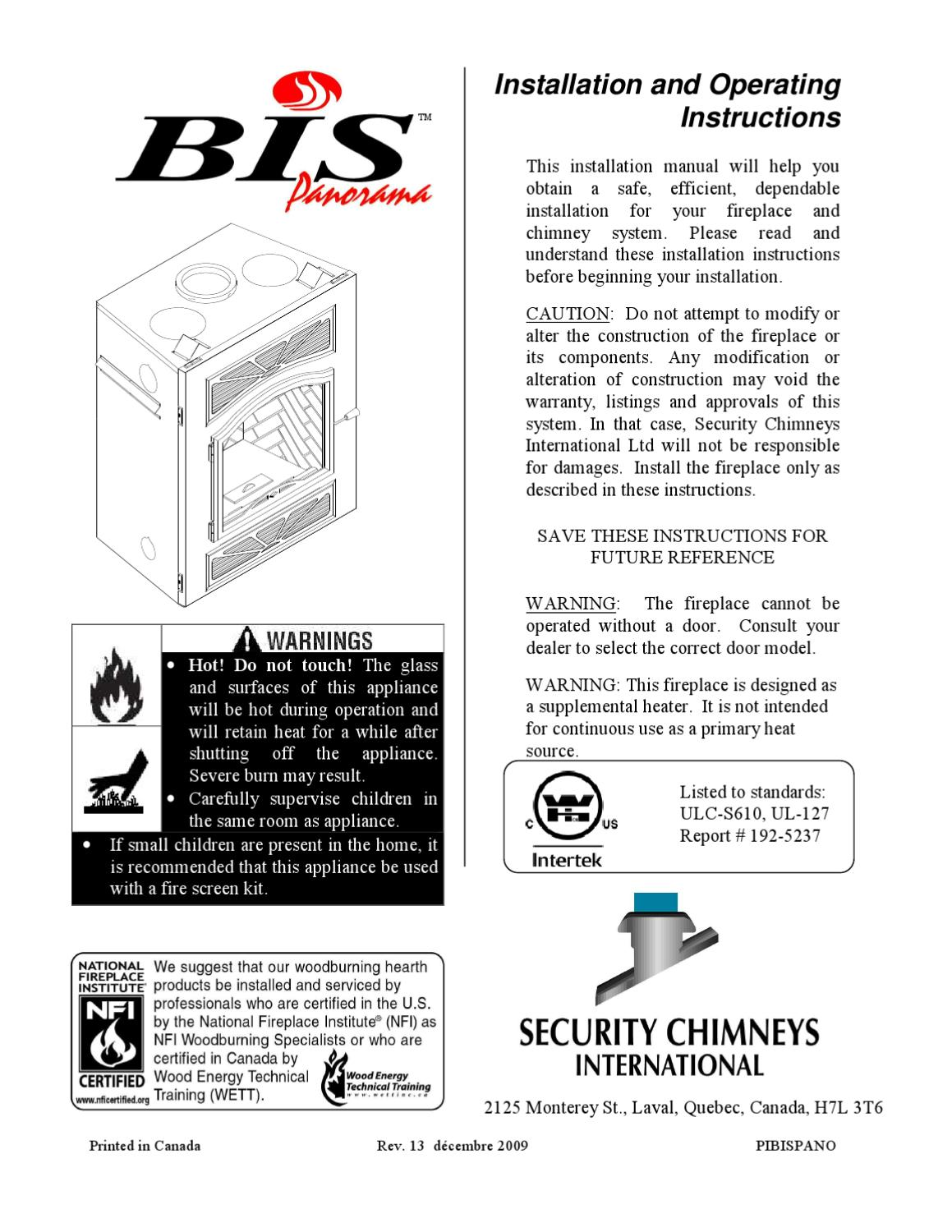 Bis 1.2 Fireplace Manual Security Wood Fireplaces By Smoke Fire Issuu