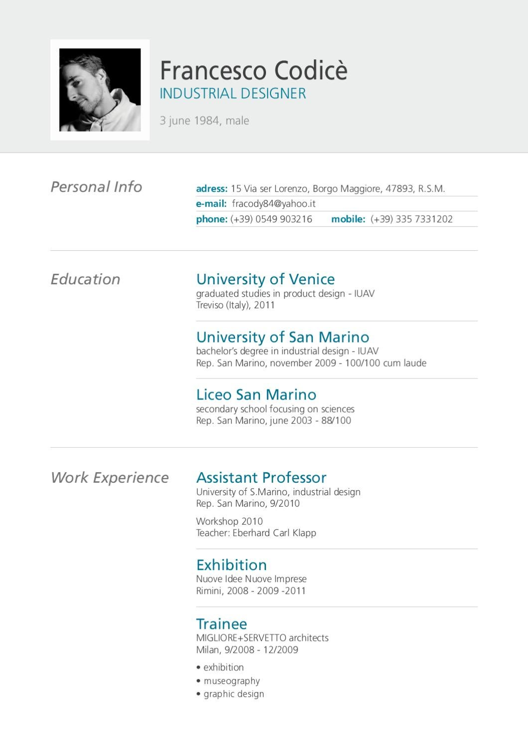 Francesco&#39 Curriculum Vitae Eng By Francesco Codicé Issuu