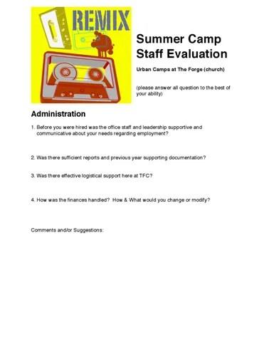 Summer Staff Evaluation Form by John Thwaites - issuu